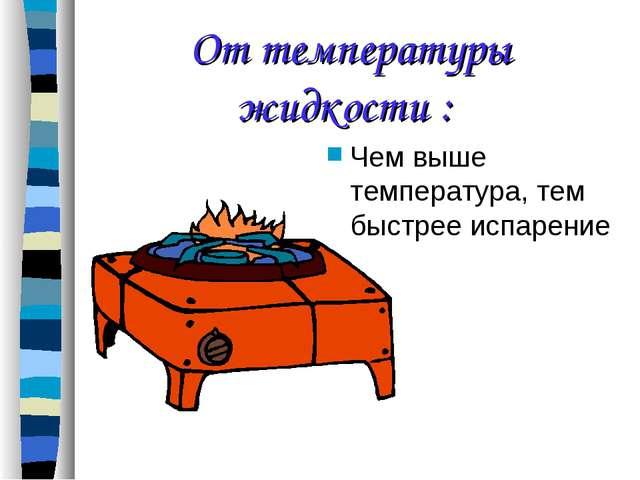 От температуры жидкости : Чем выше температура, тем быстрее испарение