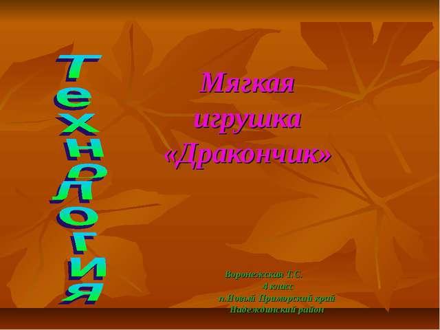 Мягкая игрушка «Дракончик» Воронежская Т.С. 4 класс п.Новый Приморский край Н...