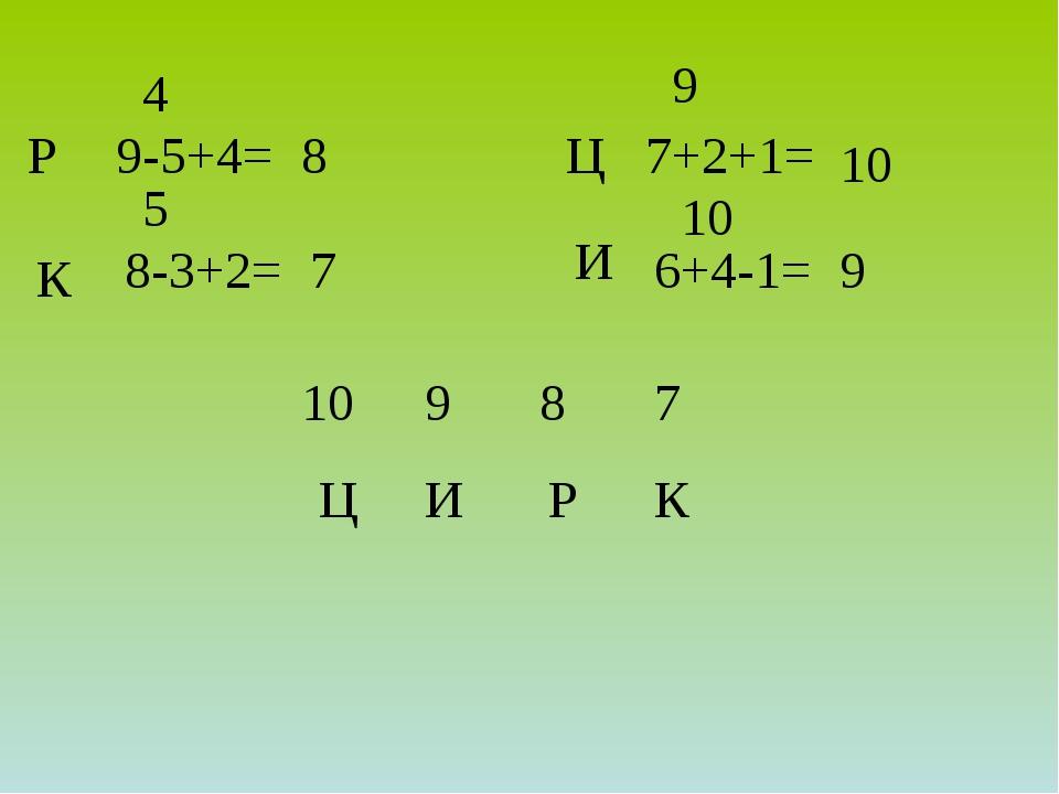 9-5+4= 8-3+2= 7+2+1= 6+4-1= 8 4 Р 7 К 9 Ц 10 И 10 9 5 10 9 8 7 Р К Ц И
