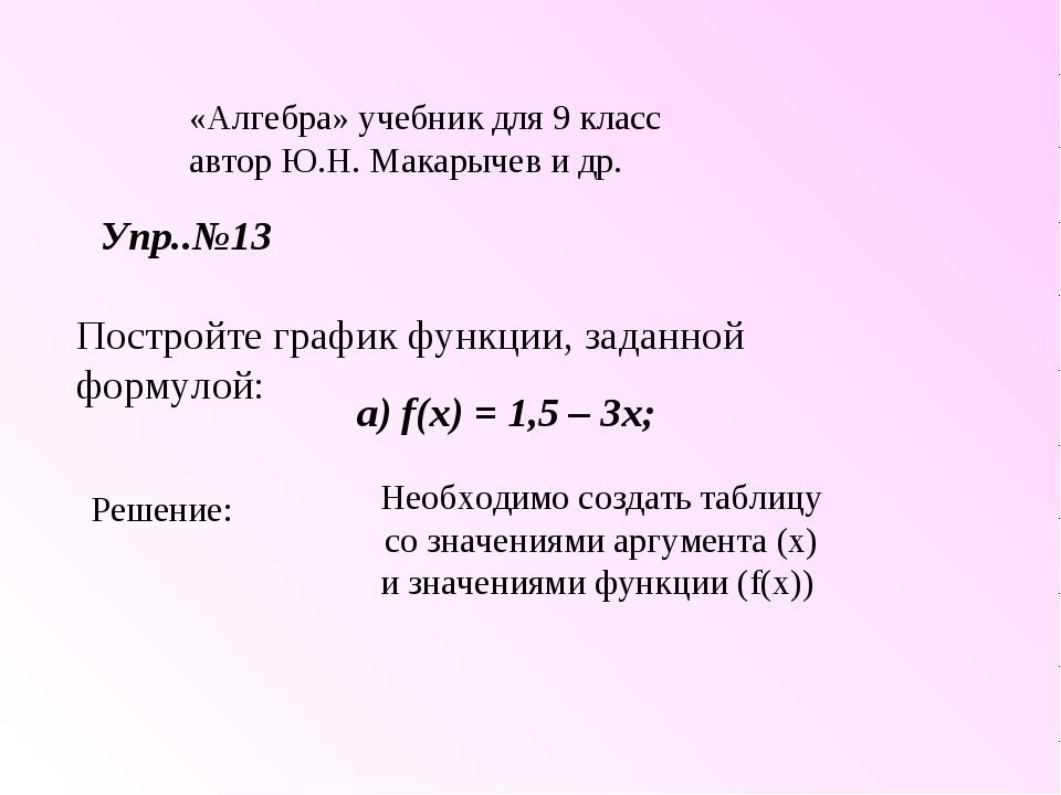 «Алгебра» учебник для 9 класс автор Ю.Н. Макарычев и др. Упр..№13 Постройте г...