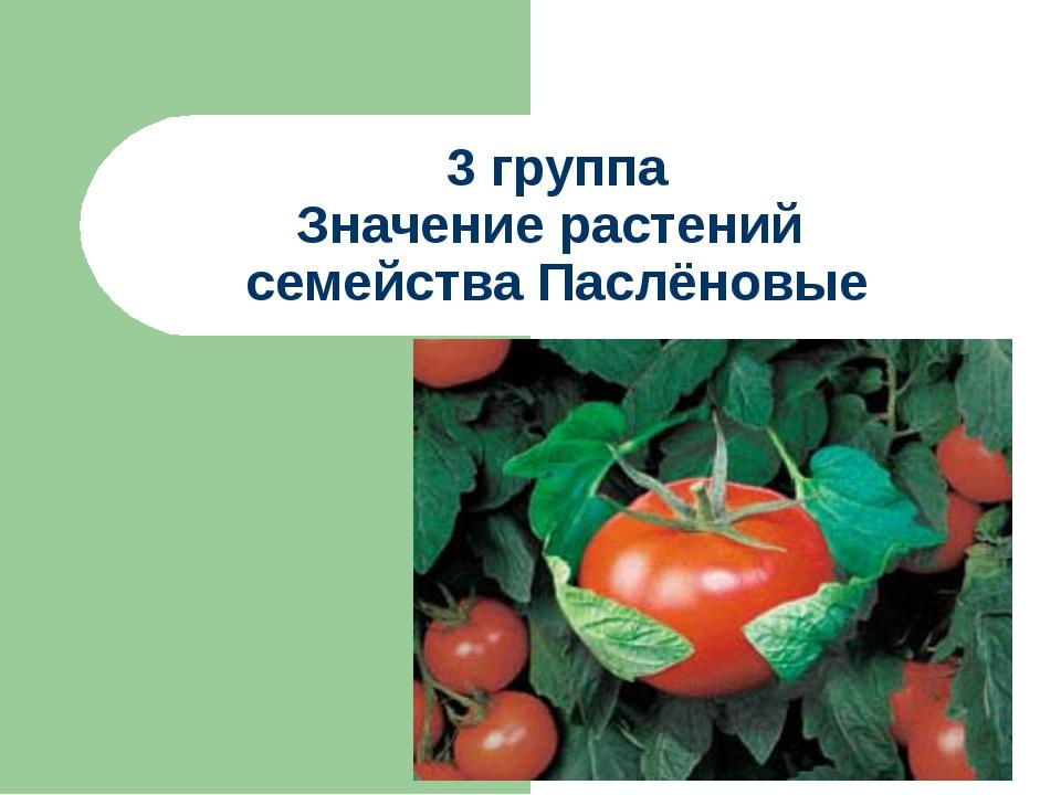 3 группа Значение растений семейства Паслёновые