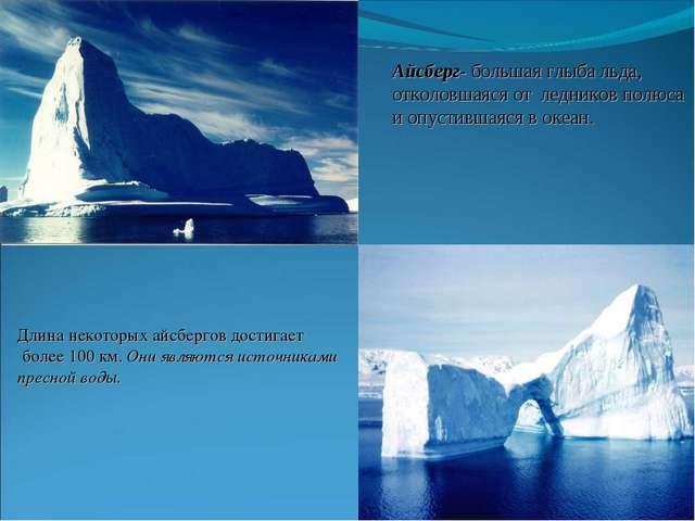Айсберг- большая глыба льда, отколовшаяся от ледников полюса и опустившаяся в...