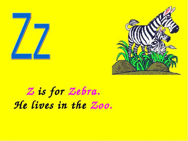 Z is for Zebra. He lives in the Zoo.