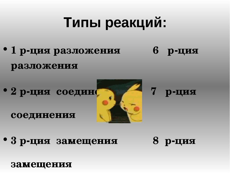 Типы реакций: 1 р-ция разложения 6 р-ция разложения 2 р-ция соединения 7 р-ци...