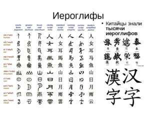 Иероглифы Китайцы знали тысячи иероглифов