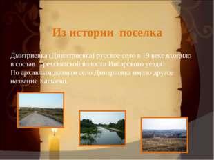 Из истории поселка Дмитриевка (Димитриевка) русское село в 19 веке входило в