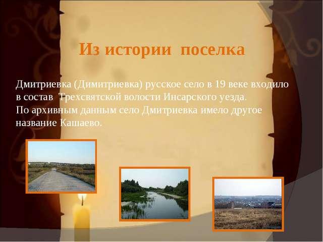 Из истории поселка Дмитриевка (Димитриевка) русское село в 19 веке входило в...