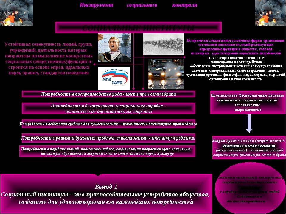 Инструмент социального контроля СОЦИАЛЬНЫЕ ИНСТИТУТЫ Устойчивая совокупность...