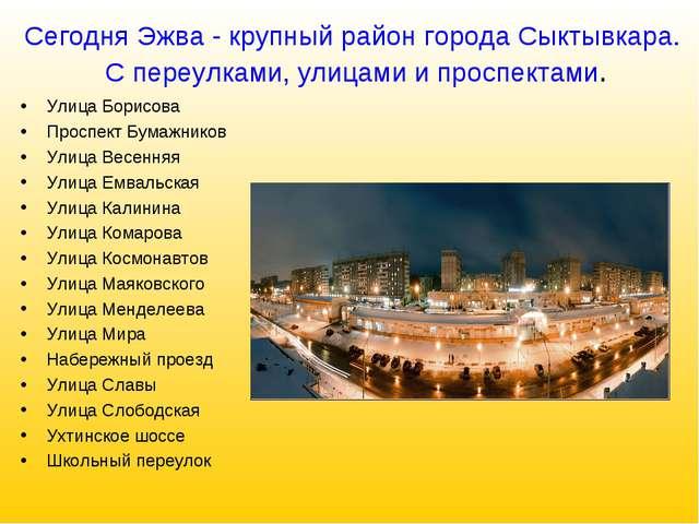 Сегодня Эжва - крупный район города Сыктывкара. С переулками, улицами и просп...