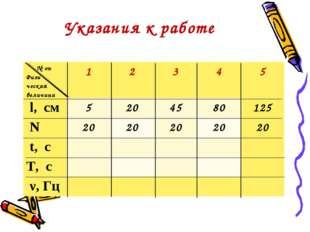 Указания к работе № оп Физи ческая величина12345 l, см5204580125 N