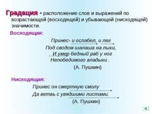 Градация - расположение слов и выражений по возрастающей (восходящей) и убыв