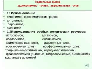 1.1 Использование синонимов, синонимических рядов, антонимов, паронимов, омон