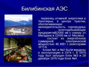Билибинская АЭС первенец атомной энергетики в Заполярье, в центре Чукотки, об