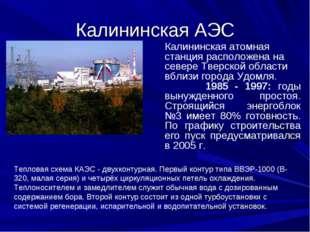 Калининская АЭС Калининская атомная станция расположена на севере Тверской об
