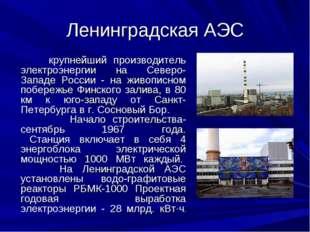 Ленинградская АЭС крупнейший производитель электроэнергии на Северо-Западе Ро