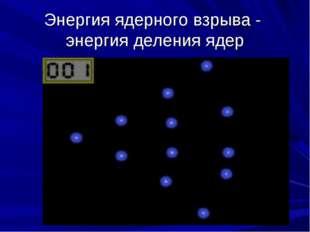 Энергия ядерного взрыва - энергия деления ядер