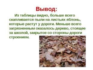 Вывод: Из таблицы видно, больше всего скапливается пыли на листьях яблонь, ко