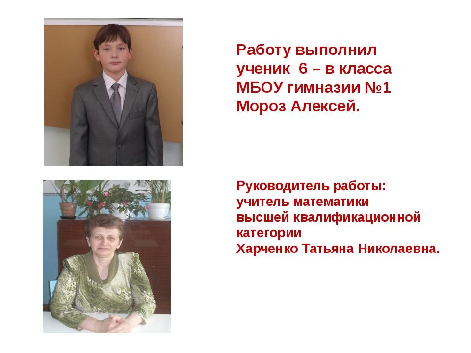 Работу выполнил ученик 6 – в класса МБОУ гимназии №1 Мороз Алексей. Руководит...