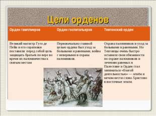 Цели орденов Орден тамплиеровОрден госпитальеровТевтонский орден Великий ма