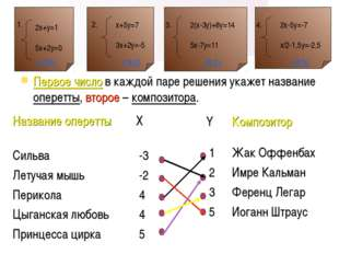 Первое число в каждой паре решения укажет название оперетты, второе – компози