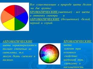 Все существующие в природе цвета делят на две группы: ХРОМАТИЧЕСКИЕ (цветные)