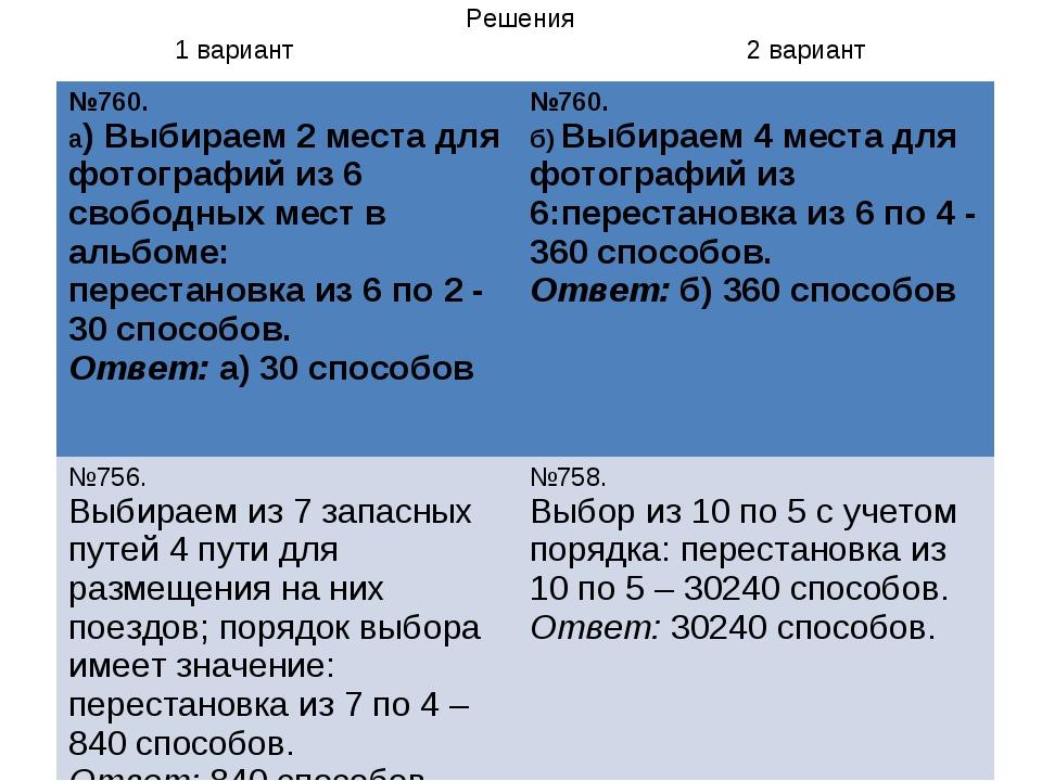 Решения 1 вариант 2 вариант №760. а) Выбираем 2 места для фотографий из 6 сво...