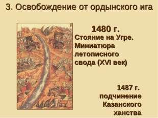 Стояние на Угре. Миниатюра летописного свода (XVI век) 1487 г. подчинение Каз