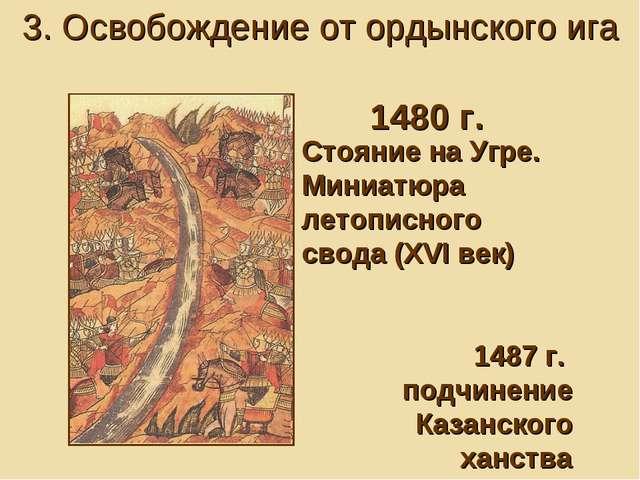 Стояние на Угре. Миниатюра летописного свода (XVI век) 1487 г. подчинение Каз...