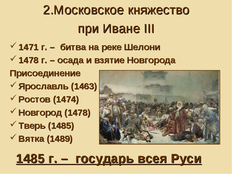 1471 г. – битва на реке Шелони 1478 г. – осада и взятие Новгорода Присоединен...