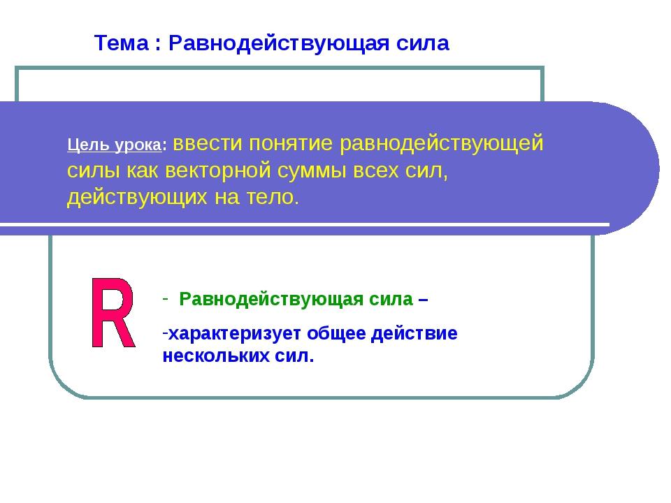 Тема : Равнодействующая сила Цель урока: ввести понятие равнодействующей силы...