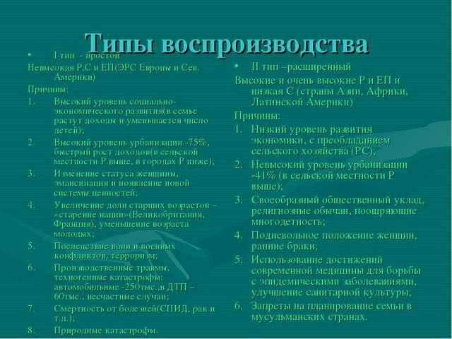 Типы воспроизводства I тип - простой Невысокая Р,С и ЕП(ЭРС Европы и Сев. Аме...
