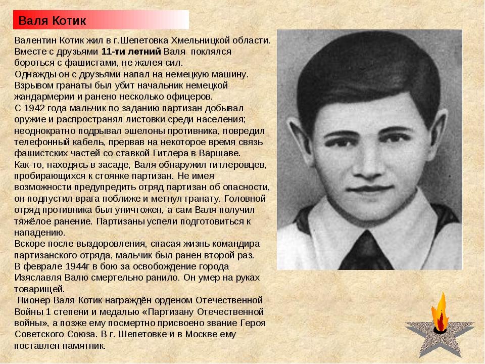 Валя Котик Валентин Котик жил в г.Шепетовка Хмельницкой области. Вместе с дру...