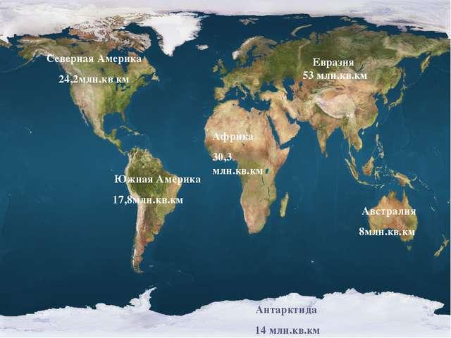 Евразия 53 млн.кв.км Африка 30,3 млн.кв.км Северная Америка 24,2млн.кв км Южн...