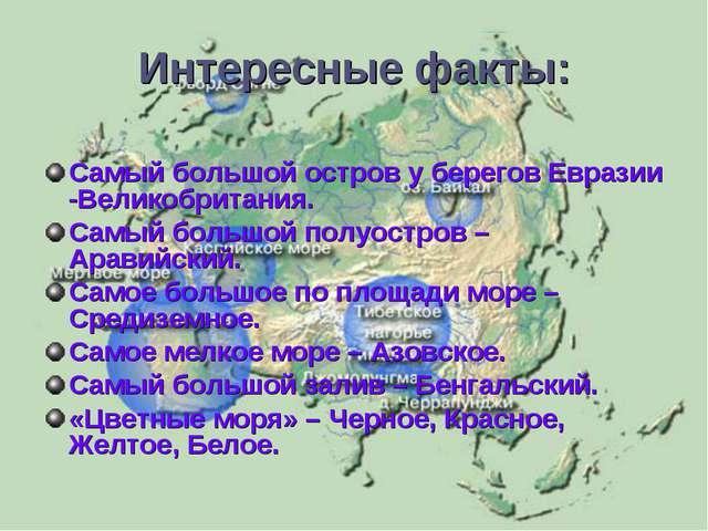 Интересные факты: Самый большой остров у берегов Евразии -Великобритания. Сам...