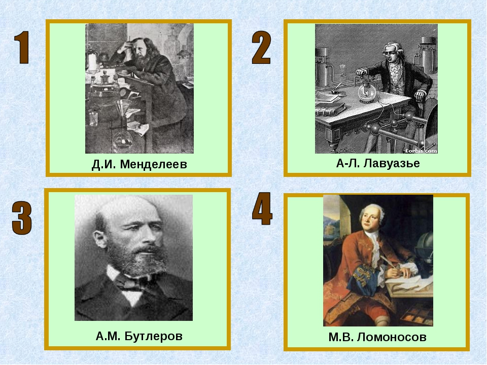 Д.И. Менделеев А-Л. Лавуазье М.В. Ломоносов А.М. Бутлеров