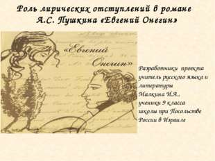 Разработчики проекта учитель русского языка и литературы Малкина И.А., ученик
