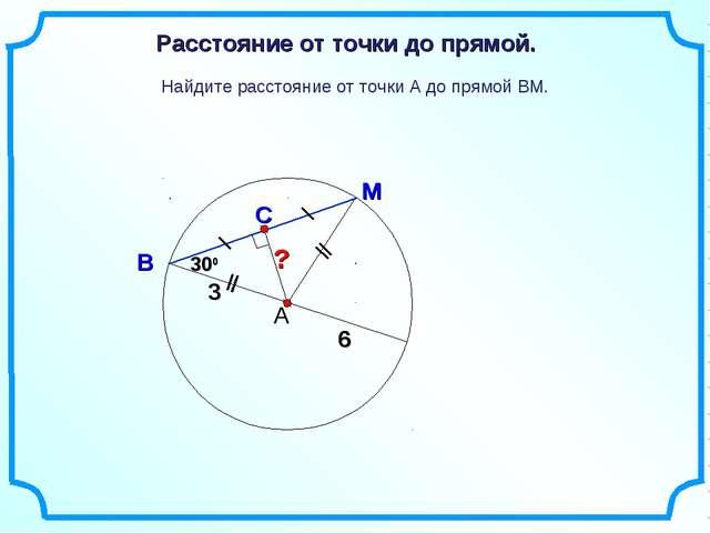 ? Найдите расстояние от точки А до прямой ВМ. А М В С Расстояние от точки до...
