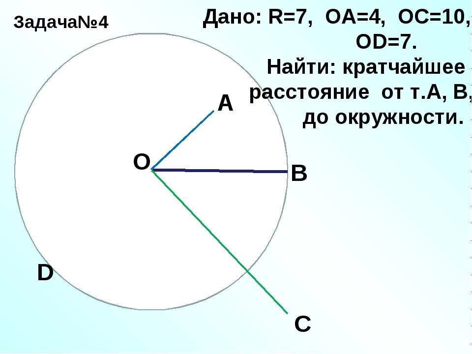 Задача№4 О А В С D Дано: R=7, ОА=4, ОС=10, ОD=7. Найти: кратчайшее расстояние...