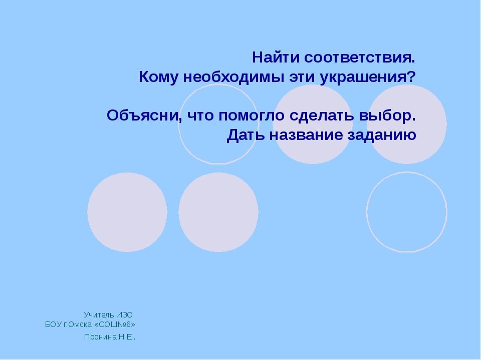 Учитель ИЗО БОУ г.Омска «СОШ№6» Пронина Н.Е. Найти соответствия. Кому необход...