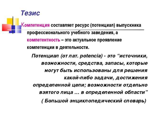 Тезис Компетенция составляет ресурс (потенциал) выпускника профессионального...