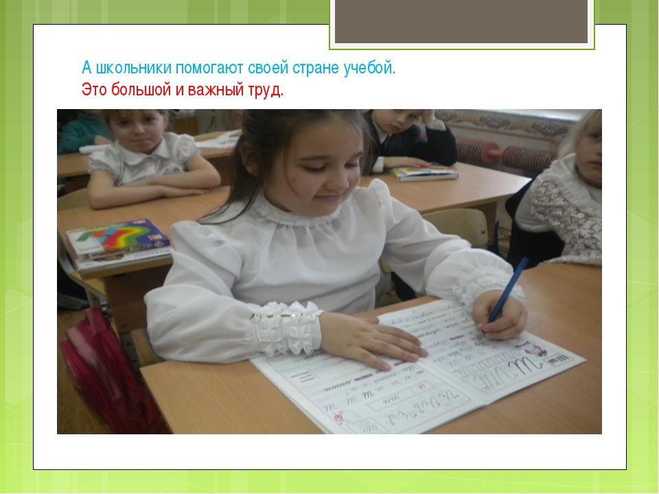 А школьники помогают своей стране учебой. Это большой и важный труд.
