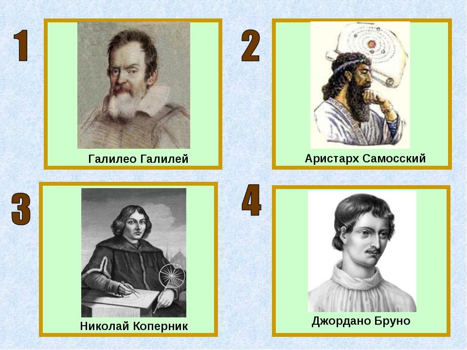 Галилео Галилей Аристарх Самосский Джордано Бруно Николай Коперник