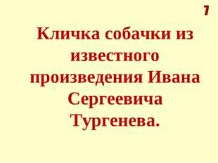 Кличка собачки из известного произведения Ивана Сергеевича Тургенева.