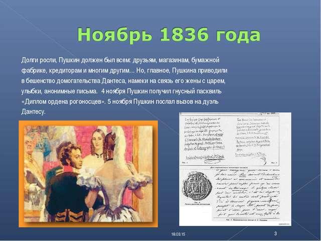 * * Долги росли, Пушкин должен был всем: друзьям, магазинам, бумажной фабрике...
