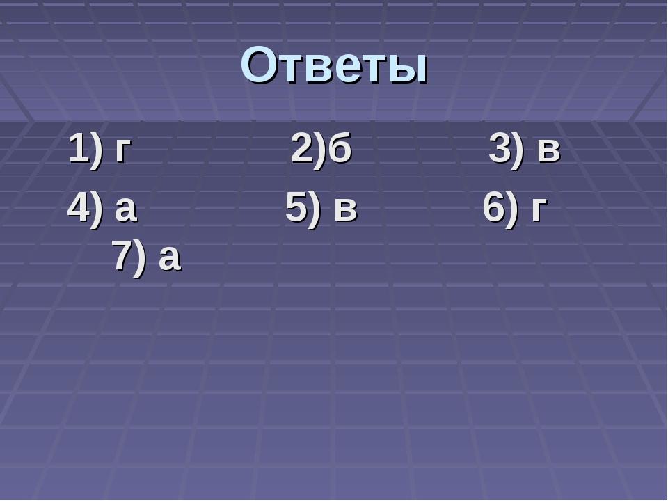 Ответы 1) г 2)б 3) в 4) а 5) в 6) г 7) а