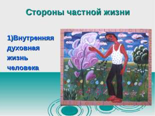 Стороны частной жизни 1)Внутренняя духовная жизнь человека