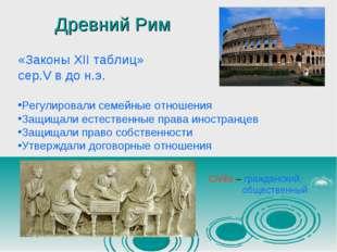 Древний Рим «Законы XII таблиц» сер.V в до н.э. Регулировали семейные отношен
