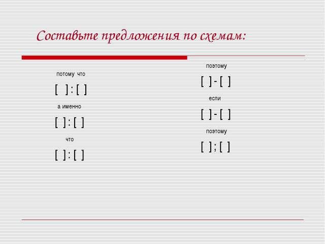 Составьте предложения по схемам: потому что [ ] : [ ] а именно [ ] : [ ] что...