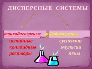 тонкодисперсные грубодисперсные истинные суспензии коллоидные эмульсии раств