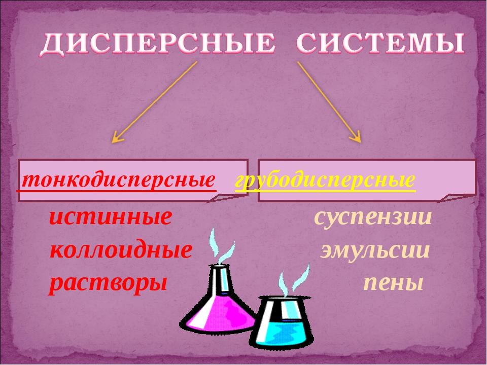 тонкодисперсные грубодисперсные истинные суспензии коллоидные эмульсии раств...